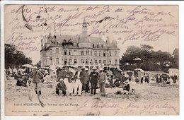 Cpa Carte Postale Ancienne - Arcachon Les Tentes Sur La Plage - Arcachon