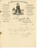 FACTURE CIERGERIE EPICERIE A L'AVRANCHINAISE A AVRANCHES 1910 - France