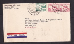 Chile: Airmail Cover To USA, 1958, 3 Stamps, Airplane, Air Label (traces Of Use) - Chili