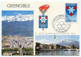 RC 10378 FRANCE JEUX OLYMPIQUES DE GRENOBLE 1968 EMBLEME ET VUE DE GRENOBLE CARTE MAXIMUM 1er JOUR FDC TB - Olympic Games