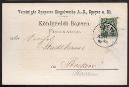 BAYERN 1893. SPEYER BRETTEN BADEN, NICE TRAVELED POSTKARTE 1€ - Alemania