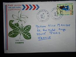 Polynesie Française Lettre De Papeete 1974 Pour Paris - Polynésie Française