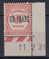 """TIMBRE TAXE N° 63 NEUF **/* TTB En COIN DE FEUILLÉ Avec DATE 1931 / SURCHARGE """" UN FRANC Sur 60 Centimes """" ROUGE - Taxes"""