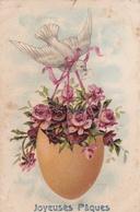 ¤¤  -   Carte Gauffrée   -  Joyeuses Pâques   -  Fleurs   -  ¤¤ - Pâques