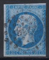 TIMBRE NAPOLEON N° 14 Dans La NUANCE BLEU SUR LILAS (VERSO SANS DÉFAUT / COTE 80€) - 1853-1860 Napoléon III