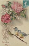 ¤¤  -   Carte Gauffrée   -  Joyeuses Pâques   -  Fleurs, Oiseaux   -  ¤¤ - Pâques