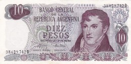 DIEZ PESOS ARGENTINA GRAL BELGRANO CIRCA 1970s-BILLETE BANKNOTE BILLET NOTA-BLEUP - Argentinië