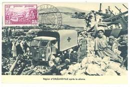 Cpa Algérie - Région D'Orléansville Après Le Séisme ( Camion Croix Rouge, CP Maximum )    ( S. 3408 ) - Algérie