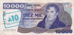 DIEZ MIL PESOS DIEZ AUSTRALES ARGENTINA GRAL BELGRANO CIRCA 1985s-BILLETE BANKNOTE BILLET NOTA-BLEUP - Argentinië