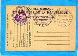 GUERRE 14-18- Marcophilie-soldat- Carte F M Mod A1  ->SP 45 3 Cachets Comdt D'étapes - Non Voyagé - Postmark Collection (Covers)