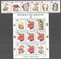 Paraguay 1986 Yvert 2207-13 + 2213a, Mushrooms Of South America (II) - MNH - Paraguay