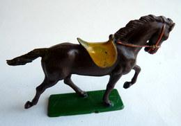 FIGURINE STARLUX CHEVAL Luxe FAR WEST III COWBOY -  MARRON FONCE (1) QUEUE RESTAUREE - Starlux