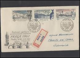 CZECHOSLOVAKIA Brief Postal History Envelope CS 287 289 290 World Philatelic Exhibition 1962 Fish Birds Beer Industry - Czechoslovakia