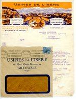 BELLE FACTURE COULEUR LETTRE COMMERCIALE AVEC ENVELOPPE USINES DE L'ISERE A GRENOBLE 1929 - Agriculture