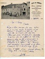 BELLE FACTURE COURRIER COMMERCIAL HÔTEL DU COMMERCE PIERRE SALIEGE A RIOM-ES-MONTAGNE 1944 VOITURE - France