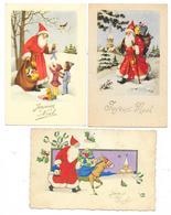 Cpsm: JOYEUX NOEL (Père Noël, Jouets, Enfants, Ane) 3 CARTES - Navidad