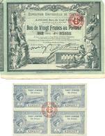 PARIS-EXPOSITION UNIVERSELLE-1900-BON DE VINGT FRANCS-AU PORTEUR-CHEMINS DE FER EN FRANCE-TALON-TICKET D'ENTREE-CREDIT - Tickets - Vouchers