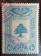 NO11 #55 - Lebanon 1942 Cedar Design 10p Sky Blue Notarial Revenue Stamp - Lebanon