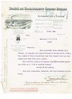 Correspondance 94 IVRY PORT - Etablissements Richard Georges Automobile Cycles 1903 Dessin Usine Train Bateau - Automobile