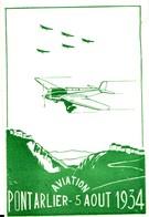 Pontarlier Aviation 5 Août 1934. Grande Fête Aérienne. Cachet Du 05-08-1934. Non Circulée. TB état. 2 Scan. - Pontarlier