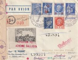 Lettre Recommandée De L'exposition Aérienne De Paris Oct 1943 Pour Bulgarie Avec Vignette, Retour A L'envoyeur Censuré - Marcophilie (Lettres)