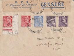 Lettre De Rochefort Charente Avec Bande Censure FFI 1 Er Régiment Bir Hacheim - Guerre De 1939-45