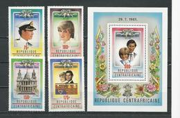 CENTRAFRIQUE  Scott 529-532, 533 Yvert 515-518, BF58 ** (4+bloc) Cote 10,00 $ 1982 - Centrafricaine (République)