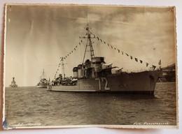 Grande Photo Torpilleur Classe Bourrasque Typhon 72 Funchal Madère Perestrellos Marine De Guerre Française 1938 - Bateaux