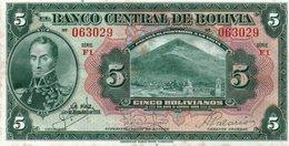 BOLIVIA 5 BOLIVIANOS 1928 P-120 UNC - Bolivie