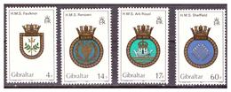 GIBRALTAR -  1983 - ROYAL NAVY'S  CRESTS. 2ND SET. COMPLETE SET. FIRST VALUE HAS A CREASE. - MNH** - Gibraltar