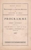 Société Amicale De Prévoyance Et De Secours Mutuels Des Employés Du Sénat, 21 Novembre 1925 - Programs