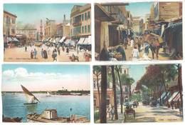 4 CPa Egypte, Le Caire / Cairo - Rues, Le Nil, ... ( état )    ( S. 3450 ) - Le Caire