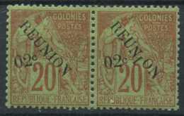 Reunion (1891) N 29 (charniere) Variete De Surcharge - Isola Di Rèunion (1852-1975)