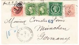 1886 1d. Ganzsachen R-Brief Mit Zusatzfrankatur Aus Sidney über Napoli Nach München; Eine Marke Eckfehler - 1850-1906 New South Wales