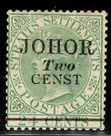 "Johore YT N° 2d Superbe Variété ""censt"". Neuf *. Rare, Signé Diena. B/TB. A Saisir! - Johore"