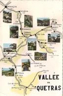 CPSM. VALLEE DU QUEYRAS. CARTE GEOGRAPHIQUE. OBLITEREE ABRIES. 1961. - Cartes Géographiques