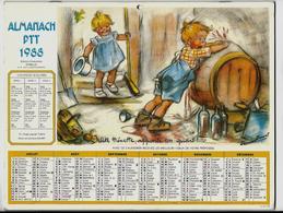 CALENDRIER ALMANACH PTT 1988 - Illustré Par Germaine BOURET - Calendars
