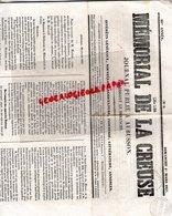 23- AUBUSSON- RARE JOURNAL LE MEMORIAL DE LA CREUSE-1 MARS 1857-HATTON POLICE-PANIFICATION MAIRE VALENCIENNES - Newspapers