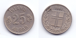 Iceland 25 Aurar 1961 - Islande