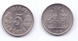 Iceland 5 Kronur 1978 - Islande