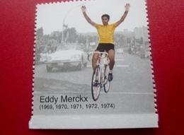 CYCLE CYCLISME EDDY MERCKX VAINQUEUR TOUR DE FRANCE 1969-70-71-72-74 Timbre Vignette Europe  France  Erinnophilie  Sport - Commemorative Labels