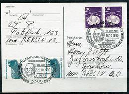 """Germany 1990 Stempelkarte 500 Jahre Post M.Bln,Mi.Nr.863 U.SST""""Braunschweig-500 Jahre Post,Tag Der Briefmarke"""" 1Beleg - Post"""