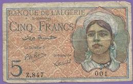 BILLET ALGÉRIE - 5 FRANCS - 2.10.1944 - Rare Série 001 Z.847 - Algeria