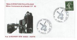 """1978 - Obl Temporaire """"18e EXPOSITION PHILATELIQUE - 30e ANNIVERSAIRE DE LA Sté PHILATELIQUE DE PANTIN"""" - Cachets Commémoratifs"""