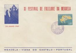 PORTUGAL - ENVELOPPE XI EME FESTIVAL DE FOLKLORE DE MEADELA 1967 - VIANA DO CASTELO - FDC - FDC