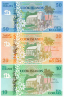 1992 //  COOK ISLAND // 50 & 20 & 10 & 2x3 Dollars // UNC - Cook