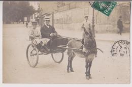 ATTELAGE D'ANE AVEC UN HOMME ET UN ENFANT DANS LA CARIOLE - ECRITE DE LYON CROIX ROUSSE EN 1908 - 2 SCANS - - Wagengespanne