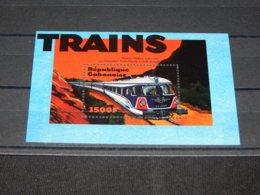 Gabon - 2000 Trains Block (3) MNH__(TH-14359) - Gabon (1960-...)