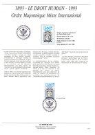 """"""" 100 ANS DU DROIT HUMAIN ORDRE MACONNIQUE MIXTE """"  Sur Doc. A4 1er Jour De 1990 SIGNE GOFFIN (dessinatrice). N°YT 2796 - Freemasonry"""