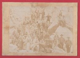 Lessines - Carrière ... Groupe D'ouvriers Carriers ... Fin 19e Siècle -photo Sur Carton - Lessen